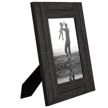 Load image into Gallery viewer, 5x7 Charcoal Black Distressed Wood Frame - Made to Display 5x7 Photos - Ready To Hang - Ready to Stand - Built-In Easel