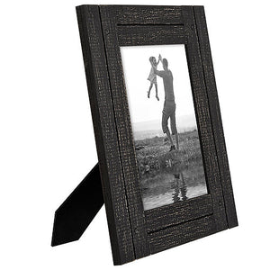 5x7 Charcoal Black Distressed Wood Frame - Made to Display 5x7 Photos - Ready To Hang - Ready to Stand - Built-In Easel