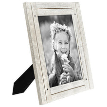 Load image into Gallery viewer, 8x10 Aspen White Distressed Wood Frame - Made to Display 8x10 Photos - Ready To Hang - Ready To Stand - Built-In Easel