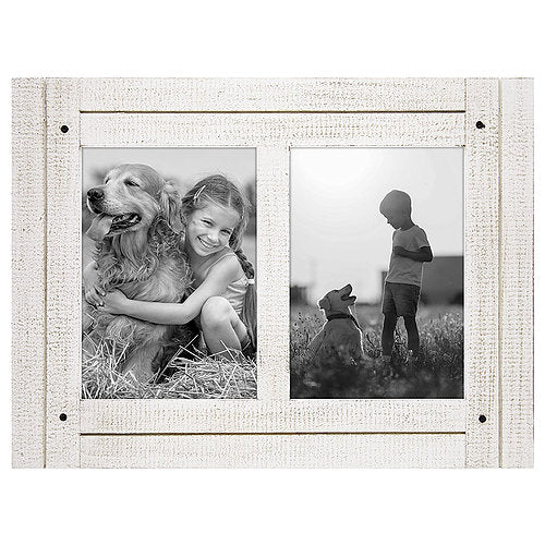 5x7 Aspen White Collage Distressed Wood Frame - Made to Display Two 5x7 Photos - Ready To Hang or Stand With Built-In Easel