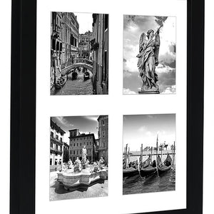 10x10 Collage Picture Frame - Displays Four 4x4 Inch Portrait Pictures with Mat