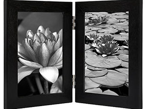 4x6 Inch Hinged Picture Frame with Glass Front - Made to Display Two 4x6 Inch Pictures