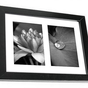 8x10 Black Collage Picture Frame with Two 4x6 Openings - Built-in Easel Stand