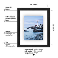 Load image into Gallery viewer, 8.5x11 Floating Document Frame - Modern Picture Frame Designed to Display a Floating Photograph, Black