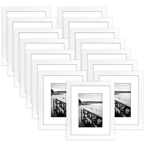 15 Pack - 8x10 White Picture Frames - Display Pictures 5x7 with Mats or 8x10 without Mats - Wall Mounting Materials Included