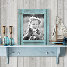 Load image into Gallery viewer, 8x10 Turquoise Blue Distressed Wood Frame - Made to Display 8x10 Photos - Ready To Hang - Ready To Stand - Built-In Easel