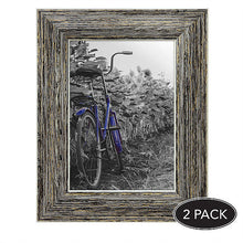 Load image into Gallery viewer, 2 Pack - 4x6 Tan Rustic Picture Frames - Built-In Easels - Wall Display - Tabletop Display