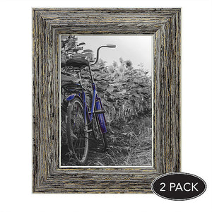 2 Pack - 5x7 Tan Rustic Picture Frames - Built-In Easels - Wall Display - Tabletop Display