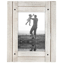 Load image into Gallery viewer, 5x7 Aspen White Distressed Wood Frame - Made to Display 5x7 Photos - Ready To Hang - Ready To Stand - Built-In Easel