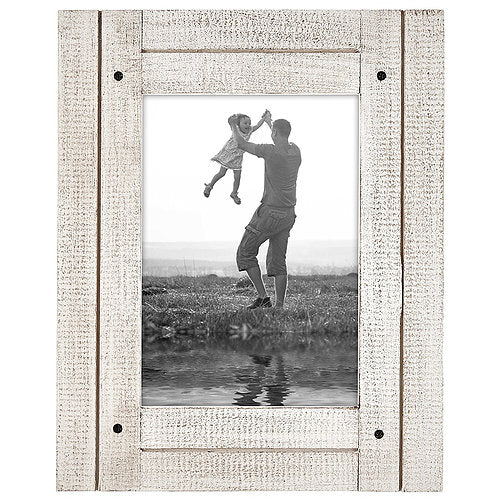 5x7 Aspen White Distressed Wood Frame - Made to Display 5x7 Photos - Ready To Hang - Ready To Stand - Built-In Easel