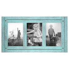 Load image into Gallery viewer, 4x6 Turquoise Blue Collage Distressed Wood Frame - Made to Display Three 4x6 Photos - Ready To Hang - Ready To Stand - Built-In Easel