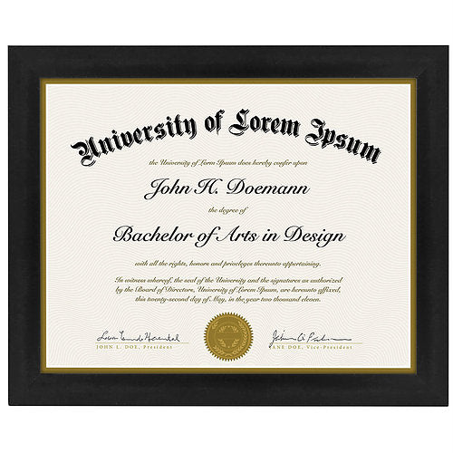 Document Frame - Made to Display Certificates 8.5x11 Inches - Document Frame, Certificate Frame, Standard Paper Frame