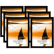 Load image into Gallery viewer, 6 Pack - 5x7 Black Picture Frames with Glass Fronts