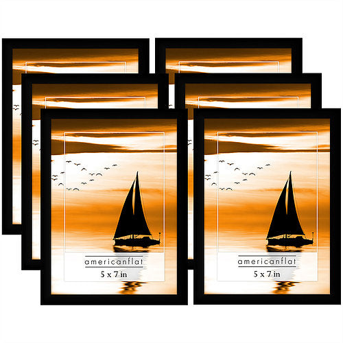 6 Pack - 5x7 Black Picture Frames with Glass Fronts