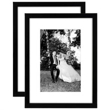 Load image into Gallery viewer, 2 Pack - 12x16 Black Picture Frames - Matted to Fit Pictures 8x12 Inches