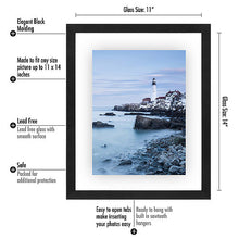 Load image into Gallery viewer, 11x14 Inch Floating Frame - Modern Picture Frame Designed to Display a Floating Photograph, Black