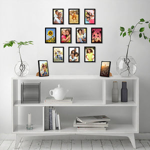 12 Pack - 4x6 Black Picture Frames with Glass Fronts