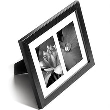 Load image into Gallery viewer, 8x10 Black Collage Picture Frame with Two 4x6 Openings - Built-in Easel Stand