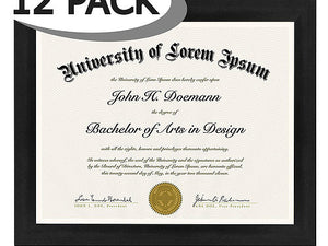 12 Pack - Document Frames - Made to Display Certificates 8.5x11 - Document Frames, Certificate Frames, Standard Paper Frames