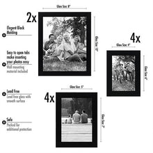 Load image into Gallery viewer, 10-Piece Multi Pack Black Frames; Two 8x10 Frames, Four 5x7 Frames, Four 4x6