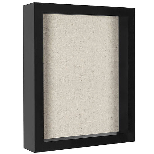 8.5x11 Document Shadow Box Frame - Soft Linen Back - Perfect to Display Memorabilia, Pins, Awards, Medals, Tickets, Photos