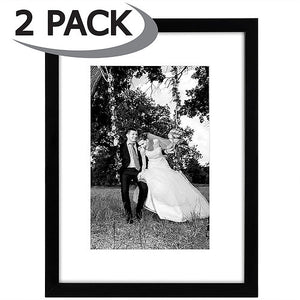 2 Pack - 12x16 Black Picture Frames - Matted to Fit Pictures 8x12 Inches