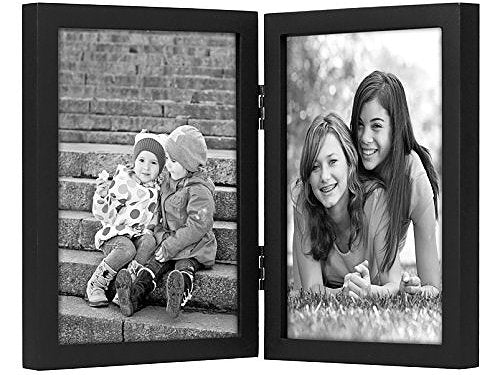 5x7 Hinged Picture Frame with Glass Front - Display Two 5x7 Pictures - Stand Vertically on Desktop or Tabletop