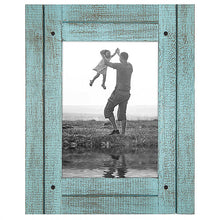 Load image into Gallery viewer, 5x7 Turquoise Blue Distressed Wood Frame - Made to Display 5x7 Photos - Ready To Hang - Ready To Stand - Built-In Easel