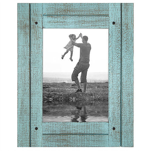 5x7 Turquoise Blue Distressed Wood Frame - Made to Display 5x7 Photos - Ready To Hang - Ready To Stand - Built-In Easel