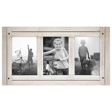 Load image into Gallery viewer, Aspen 4x6 White Collage Distressed Wood Frame - Made to Display Three 4x6 Photos - White - Ready to Hang on Wall or Stand on Tabletop