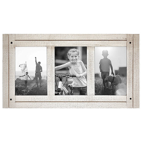 Aspen 4x6 White Collage Distressed Wood Frame - Made to Display Three 4x6 Photos - White - Ready to Hang on Wall or Stand on Tabletop