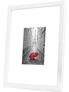 11x14 White Picture Frame - Display Pictures 5x7 with Mat - Display Pictures 11x14 without Mat - White Mat - Glass Front