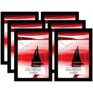 6 Pack - 4x6 Black Picture Frames with Glass Fronts