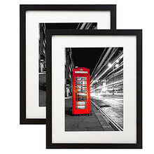Load image into Gallery viewer, 2 Pack - 11x14 Black Picture Frames - Made to Display Pictures 8x10 with Mats or 11x14 without Mats - Wide Moldings