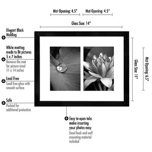 11x14 Black Collage Picture Frame - Displays Two 5x7 inch Photos with a White Mat