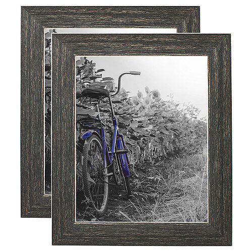 2 Pack - 8x10 Barnwood Rustic Picture Frames with Easels - Made for Wall and Tabletop Display