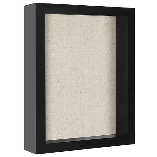 8x10 Shadow Box Frame with Soft Linen Back - Perfect to Display Memorabilia, Pins, Awards, Medals, Tickets and Photos
