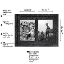 Load image into Gallery viewer, 5x7 Charcoal Black Collage Distressed Wood Frame - Display Two 5x7 Photos