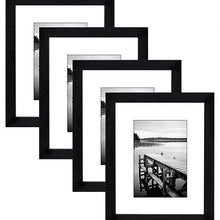 Load image into Gallery viewer, 4 Pack - 8x10 Black Picture Frames - Display Pictures 5x7 with Mats - Display Pictures 8x10 without Mats