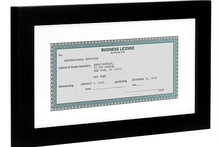 Load image into Gallery viewer, 15 Pack - Business License Frames - Made for Business Licenses Sized 3.5x8 Inches with Mat or 5x10 Inches without Mat - Made for Standard Business Licenses, Real Estate Licenses