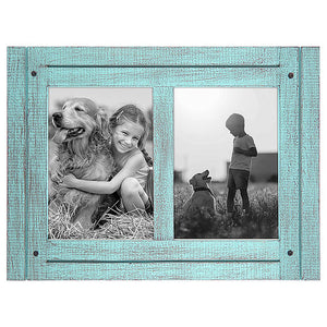 5x7 Turquoise Blue Collage Distressed Wood Frame - Made to Display Two 5x7 Photos - Ready To Hang - Ready To Stand - Built-In Easel