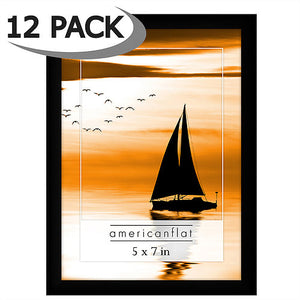 12 Pack - 5x7 Black Frames with Glass Fronts