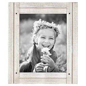 8x10 Aspen White Distressed Wood Frame - Made to Display 8x10 Photos - Ready To Hang - Ready To Stand - Built-In Easel