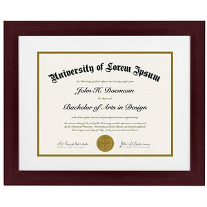 Mahogany Document Frame - Made to Display Documents sized 8.5x11 Inches with Mat and 11x14 without Mat - Document Frame, Certificate Frame, High School Diploma Frame