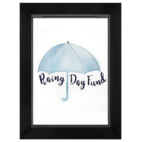 Rainy Day Fund Decorative Shadow Box Frame, Glass Sized 5x7 Inches