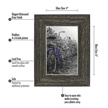 Load image into Gallery viewer, 2 Pack - 4x6 Barnwood Rustic Picture Frames - Built-In Easels - Wall Display - Tabletop Display