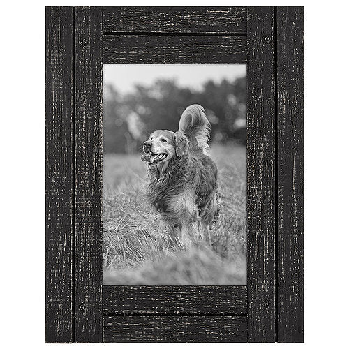 4x6 Charcoal Black Distressed Wood Frame - Made to Display 4x6 Photo - Ready To Hang - Ready To Stand - Built-In Easel