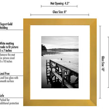 Load image into Gallery viewer, 8x10 Gold Picture Frame, Display Pictures 5x7 w/Mat or 8x10 w/out Mat