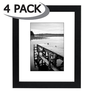 4 Pack - 8x10 Black Picture Frames - Display Pictures 5x7 with Mats - Display Pictures 8x10 without Mats