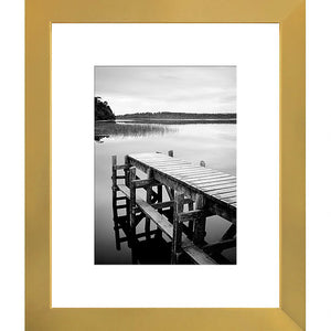 8x10 Gold Picture Frame, Display Pictures 5x7 w/Mat or 8x10 w/out Mat